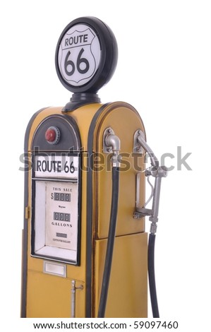 copy of a yellow vintage route 66 fuel pump isolated on white background