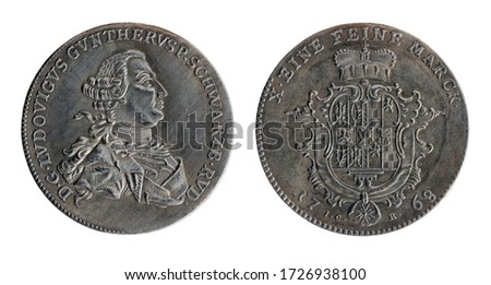 Copy of the silver thaler of the Ruling Prince of Schwarzburg-Rudolstadt Louis Gunther II (also known as Louis Gunther IV). Coin minted in 1768, isolated on a white background. Foto d'archivio ©