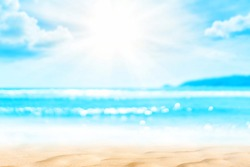 Copy space blur tropical beach with bokeh sun light wave on blue sky and white cloud abstract background. Summer vacation outdoor and travel holiday adventure concept. Vintage tone filter effect color