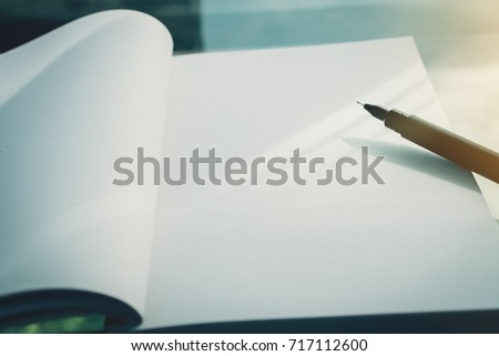 copy space of notebook with pen ...