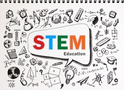 Copy space on STEM education background. STEM - science, technology, engineering and mathematics background with doodle icon education. Education doodle or education STEM background concept.