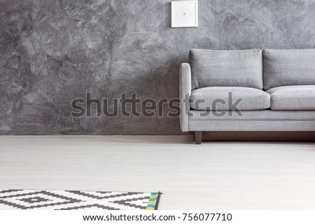 Copy space shot of monochromatic minimalist studio apartment with gray sofa, simple poster, concrete wall and patterned rug #756077710