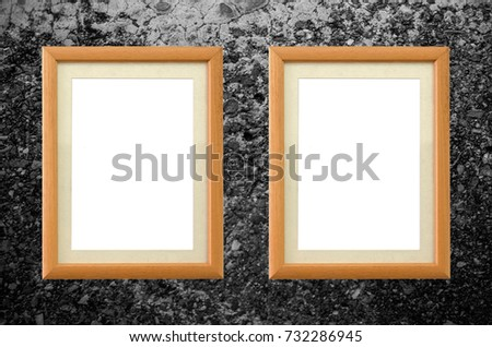 copy space Top view object two Classic wooden empty Realistic square shape picture frame on old wooden board Crack decay Degraded by time vertical line background