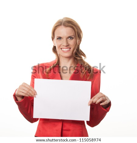 Copy space woman happy holding blank sign