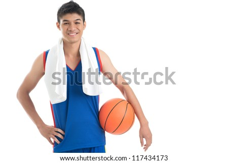 Copy-spaced portrait of a basketball player after a successful game - stock photo