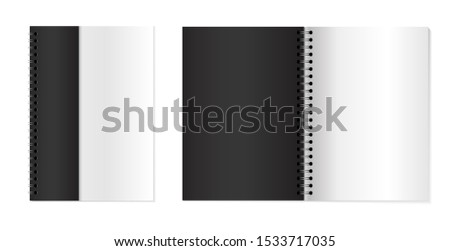 Copybooks with metallic silver spiral. Set of opened notebooks. Notebooks mock up for your design
