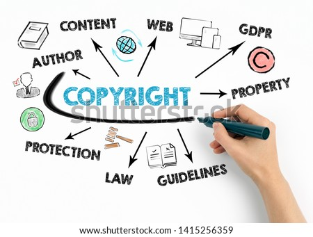 Copyright Concept. Chart with keywords and icons on white background Сток-фото ©