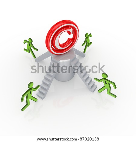 Copyright concept..Isolated on white background.3d rendered.