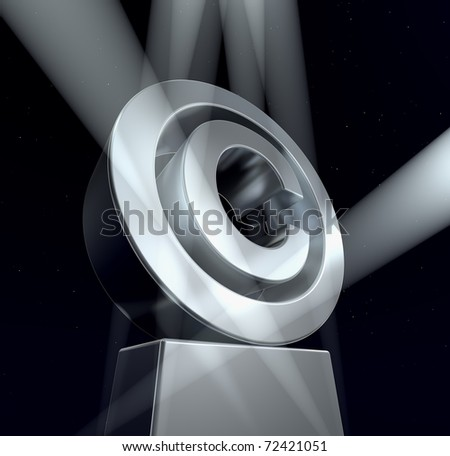 Copyright Copyright sign in silver on a silver pedestal at a black background. 3d
