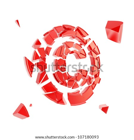 Copyright issues as red glossy symbol broken into tiny plastic pieces isolated on white