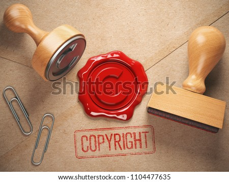 Copyright rubber stamp  and sealing wax stamrp on the craft peper.  Intellectual property and copyright concept. 3d illustration Сток-фото ©