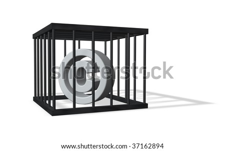 copyright sign in a cage on white background - 3d illustration