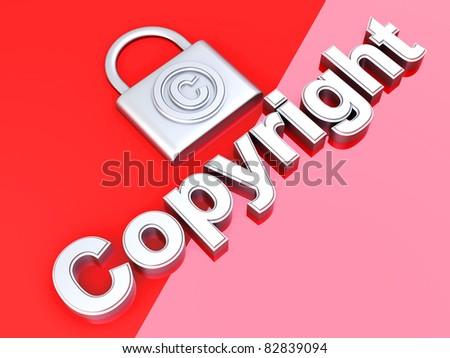 Copyright symbol. 3D rendered Illustration.