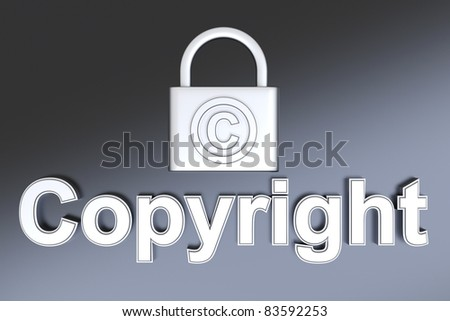 Copyright symbol. 3D rendered Illustration. - stock photo