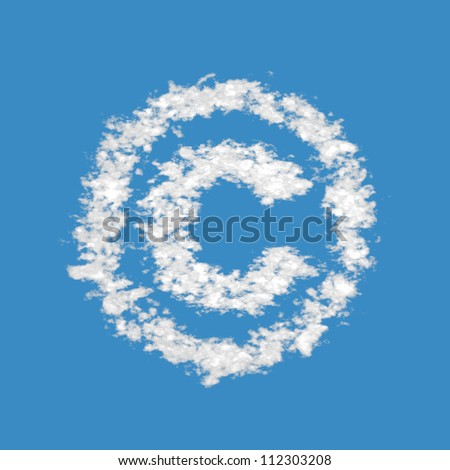 Copyright symbol, made of clouds on blue sky background.