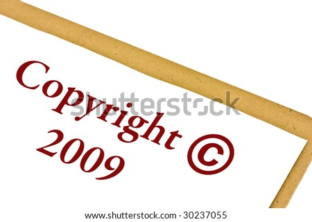 Copyright 2009 symbol on a clipboard isolated on white