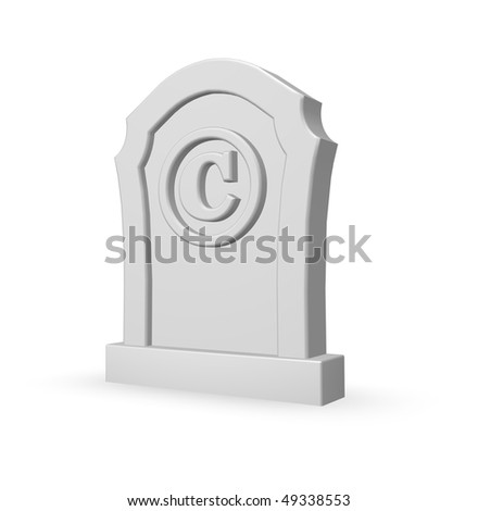 copyright symbol on gravestone - 3d illustration
