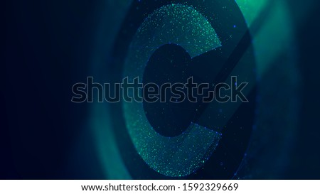 Copyright symbol, protection of intellectual property, future technology illustration, monitor screen in perspective Сток-фото ©