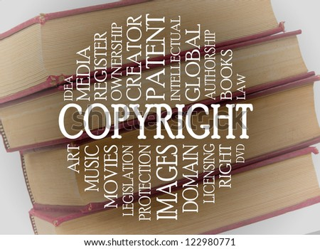 Copyright word cloud concept with a background of books
