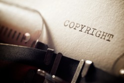 Copyright word written with a typewriter.