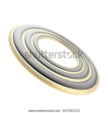 Copyspace circular round copyspace frame abstract background made of black and golden circle paths isolated on white