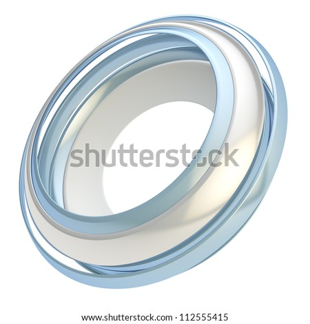 Copyspace circular round frame abstract background made of glossy chrome metal circle paths isolated on white