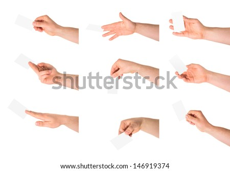 Copyspace empty visiting calling card in a caucasian hand isolated over white background, set of nine foreshortenings