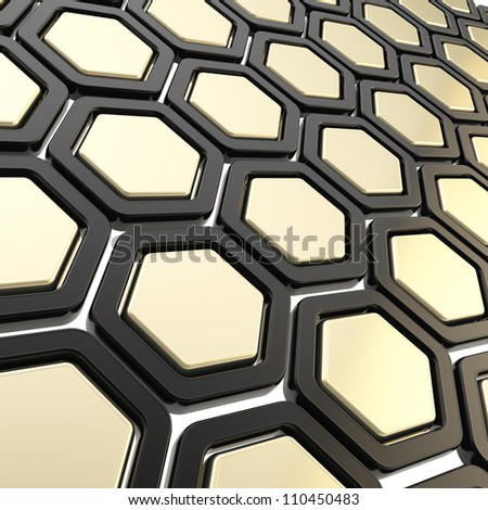 Copyspace hexagon segments made of black plastic and glossy golden metal as abstract background