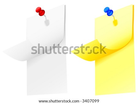 Copyspace on two notepad pages, top and next, on yellow post-it notepad & white notes, with tacks and shadows. - stock photo