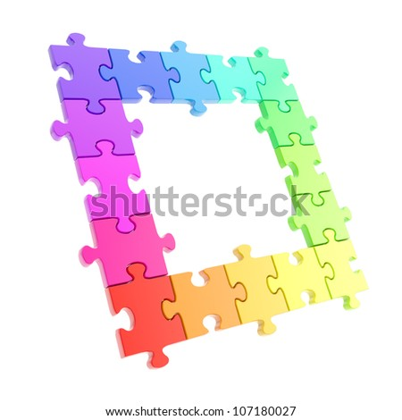 Copyspace puzzle frame made of rainbow colored glossy jigsaw pieces isolated on white