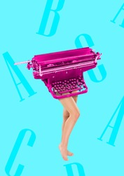 Copywriter has keyboard as a head and body. Typing with her brain. Female fit legs headed by pink retro typewriter on blue background. Business concept. Modern design. Contemporary art collage.