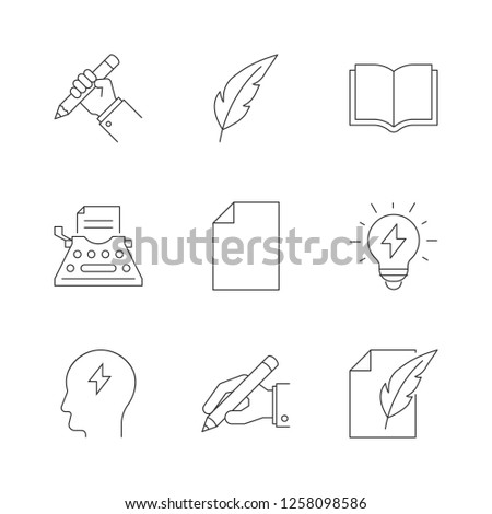 Copywriting outline icons on white background #1258098586