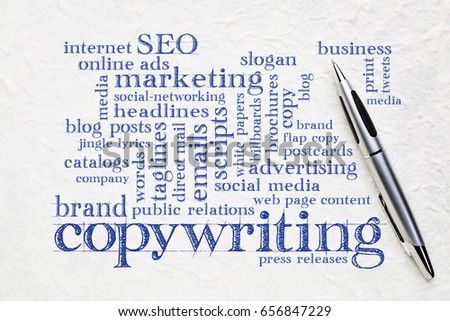 copywriting word cloud  - handwriting on a white lokta paper with a pen #656847229