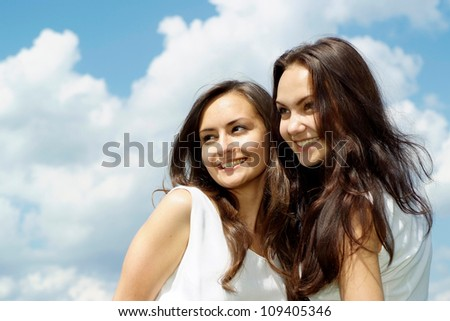 Coquettish brunettes went to rest on the nature