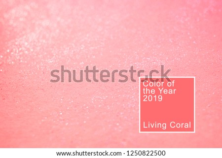Coral background with glitter. Living coral. Color of the  2019. #1250822500