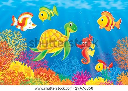 stock photo coral fishes turtle and seahorse 29476858 - Каталог — Фотообои «Для детской»