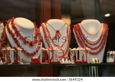 Coral jewelry in the shop window