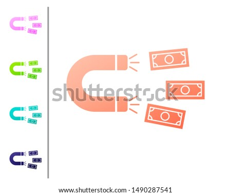 Coral Magnet with money icon isolated on white background. Concept of attracting investments, money. Big business profit attraction and success. Set color icons
