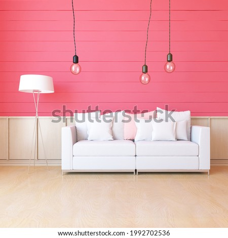 Coral minimalist living room interior with sofa on a wooden floor, decor on a large wall, white landscape in window. Home nordic interior. 3D illustration