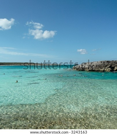 Coral reef with blue caribbean water