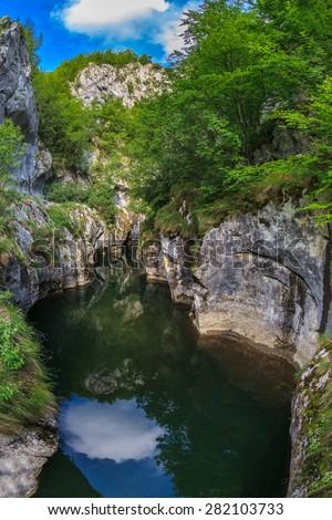 Corcoaia Gorge protected area in Baile Herculane, Romania