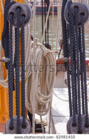 Cordage forming part of the rigging of a replica sailing ship