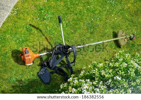corded string trimmer in a park #186382556