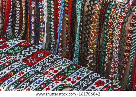 Cordelia colored and decorated with beads. Specific Maramures, Romania.
