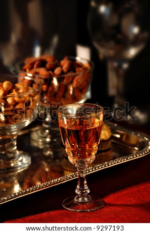 cordial with a tray of snacks and drinks - stock photo