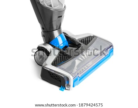 Cordless handheld vacuum cleaner in charging holder isolated on white background Stock photo ©