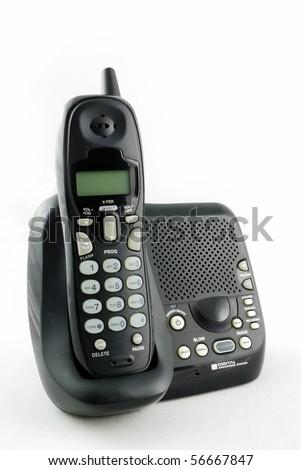 cordless phone set closeup with white background - stock photo
