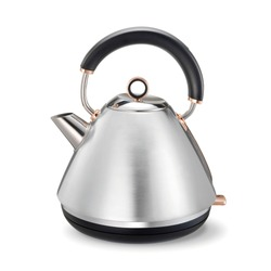 Cordless Retro Pyramid Electric Kettle Isolated on White. Stainless Steel Brushed Traditional Kettle 1.5L Capacity on Round Plate & Water Gauge. Domestic & Household Electric Kitchen Small Appliances