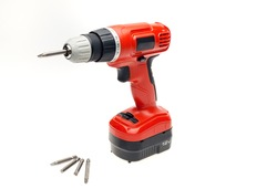 cordless screwdriver or drill isolated on a white background
