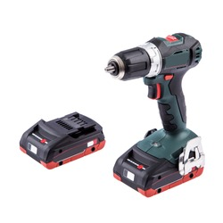 Cordless screwdriver with extra battery on white background